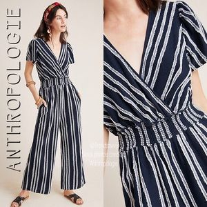 NWT ANTHROPOLOGIE CANOVAS NAVY STRIPED JUMPSUIT S